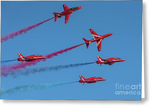 Greeting Card featuring the photograph Red Arrows Enid Break by Gary Eason