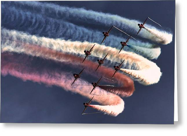 Red Arrows Roll Greeting Card by Phil Clements