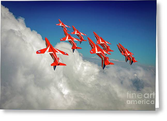 Greeting Card featuring the photograph Red Arrows Sky High by Gary Eason