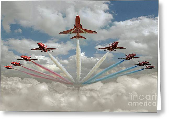 Greeting Card featuring the photograph Red Arrows Smoke On  by Gary Eason