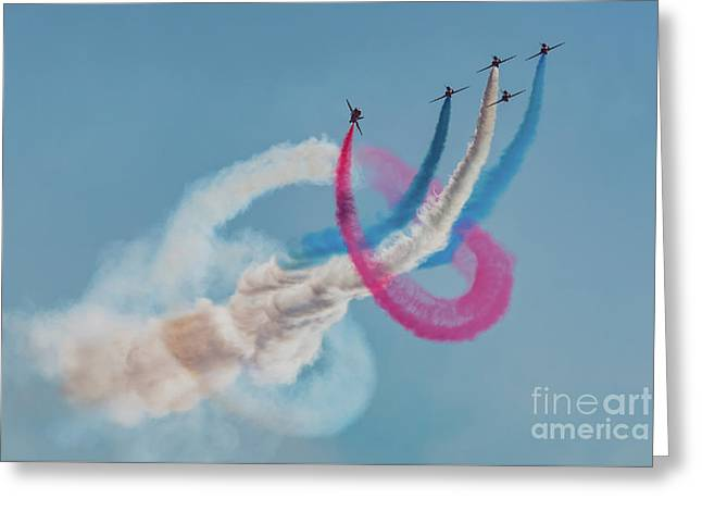 Greeting Card featuring the photograph Red Arrows Twister by Gary Eason