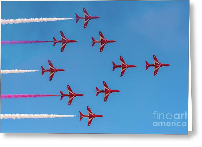 Greeting Card featuring the photograph Red Arrows Typhoon Formation by Gary Eason