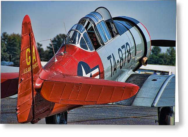 Plane Radial Engine Greeting Cards - Red AT-6 Greeting Card by Steven Richardson