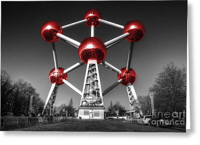 Red Atomium Greeting Card by Rob Hawkins