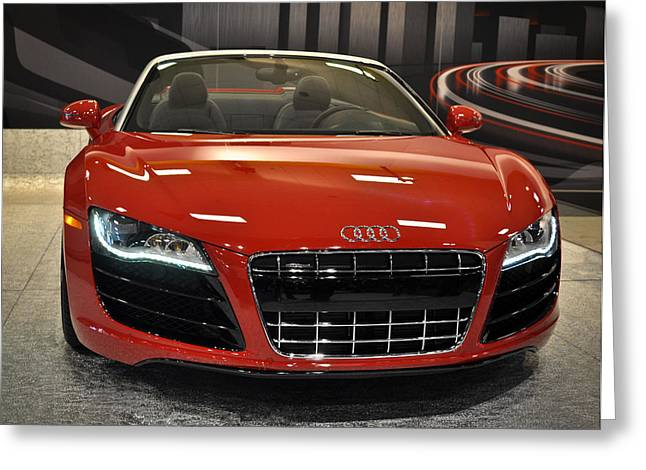 Nikon D90 Greeting Cards - Red Audi R8 Seattle Auto Show 2011 Greeting Card by Ronda Broatch