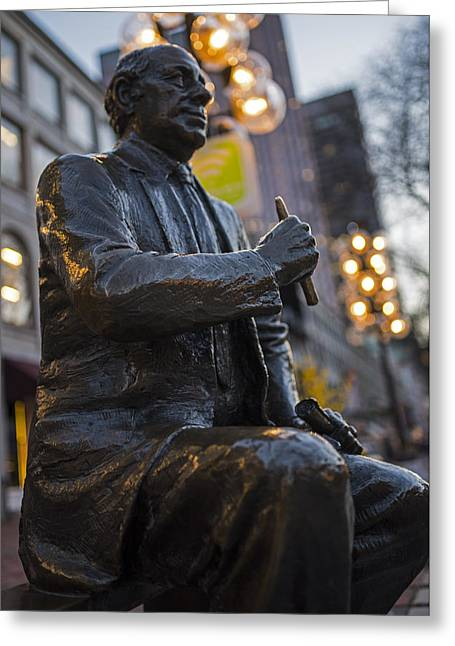 Red Auerbach Chilling At Fanueil Hall Side Greeting Card