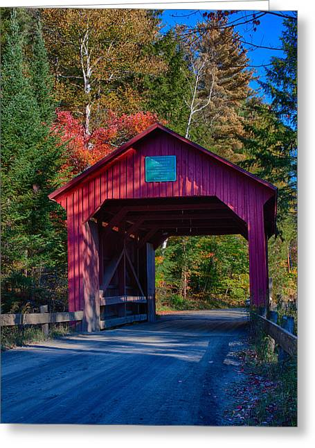Red Autumn Foliage Over Moseley Covered Bridge Greeting Card by Jeff Folger
