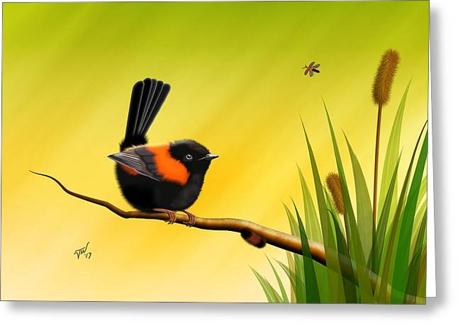 Greeting Card featuring the digital art Red Backed Fairy Wren by John Wills