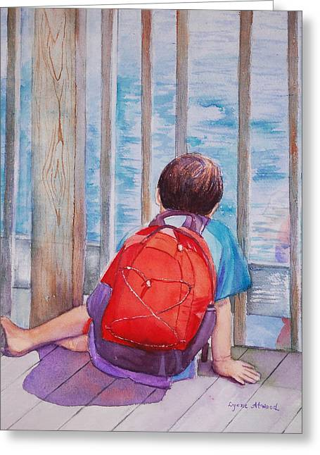 Red Backpack Greeting Card