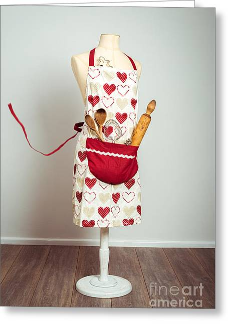 Red Baking Apron Greeting Card by Amanda Elwell