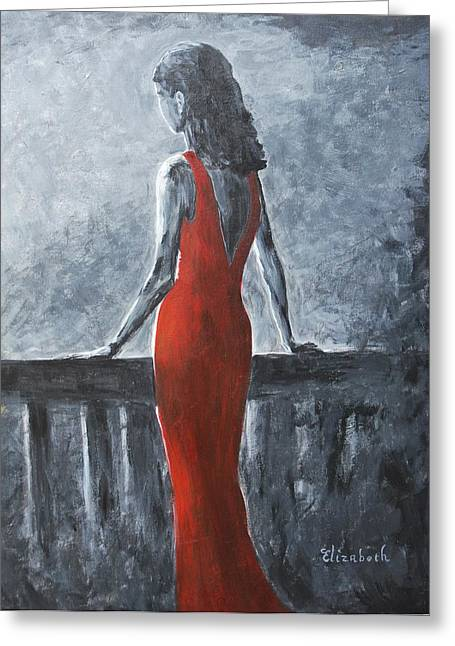 Red Balcony Dress Greeting Card by Beth Maddox