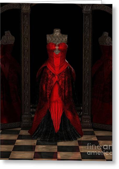 Red Ballgown Reflections Greeting Card by Fairy Fantasies