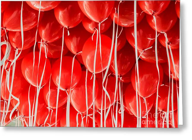 Red Balloons Hanging Under A Ceiling Greeting Card