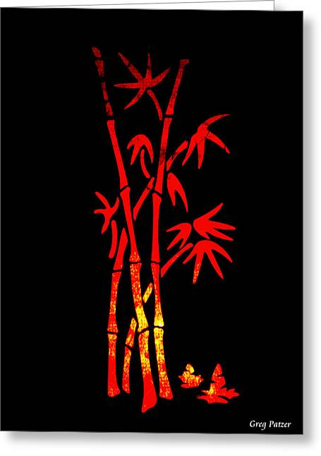 Red Bamboo Greeting Card by Greg Patzer
