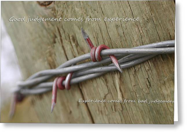 Red Barbwire Experience Greeting Card by Kyla Schnabel
