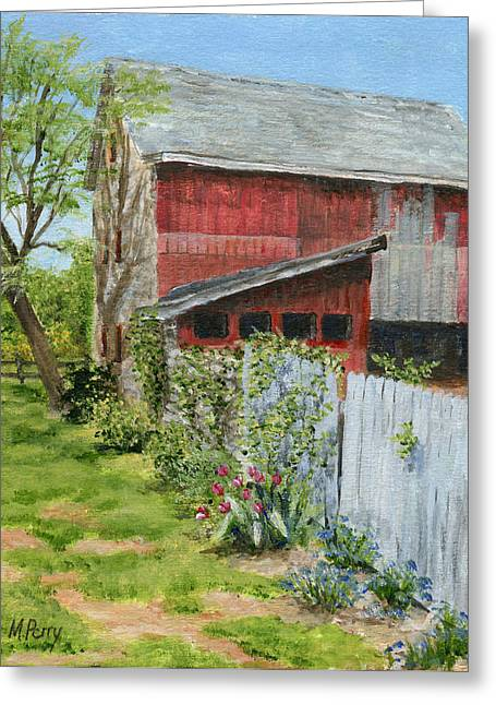 Red Barn And Gray Fence Greeting Card