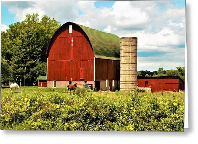 0040 - Red Barn And Horses Greeting Card