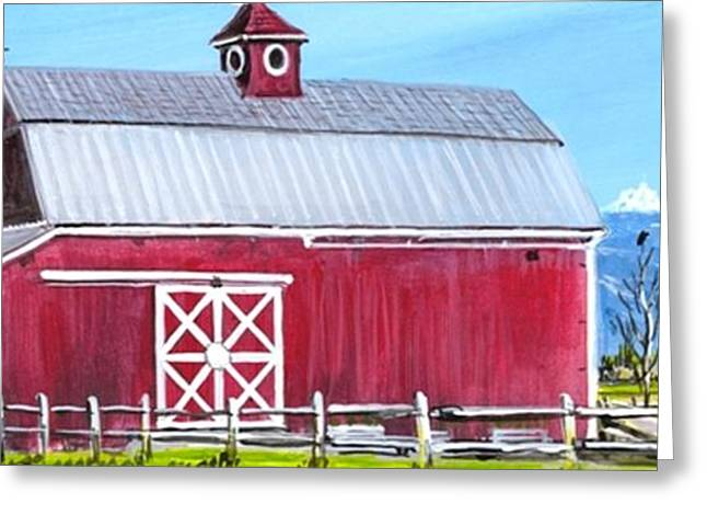Red Barn And Mt Baker Greeting Card by Bob Patterson