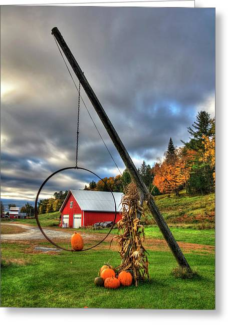 Red Barn And Pumpkins In Autumn - Vermont Greeting Card