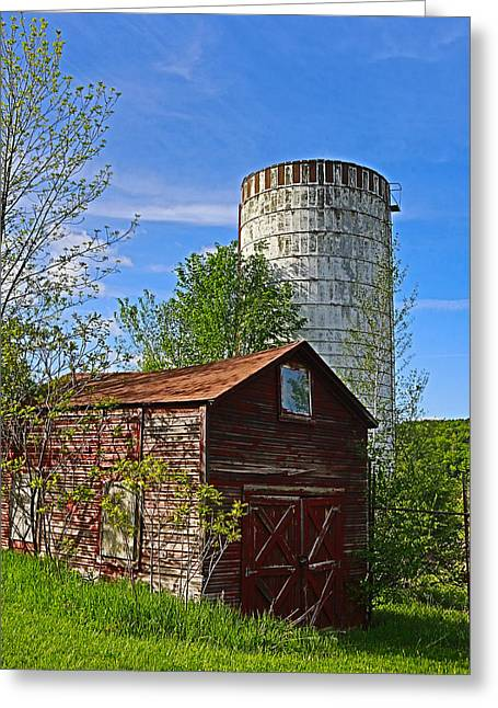 Greeting Card featuring the photograph Red Barn And Silo by Paula Porterfield-Izzo
