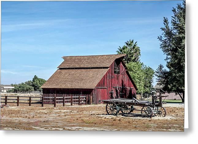Red Barn And Wagon Greeting Card