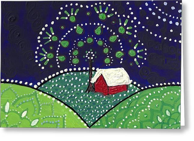 Red Barn At Night Greeting Card