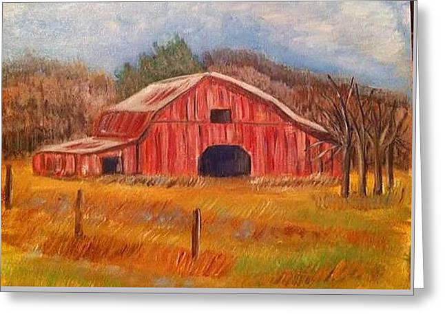 Red Barn Painting Greeting Card