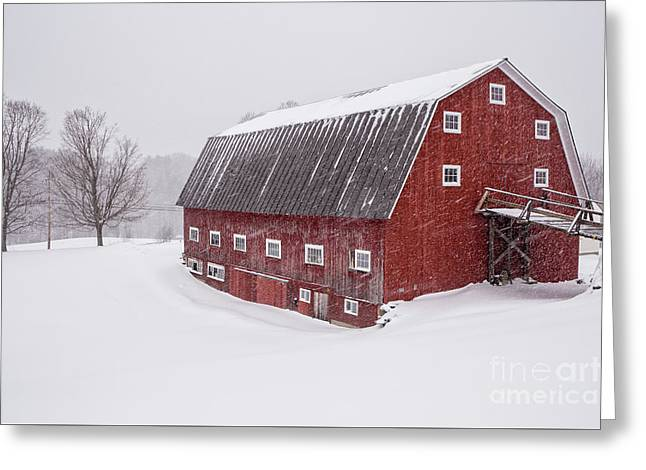 Red Barn Blizzard New Hampshire Greeting Card by Edward Fielding