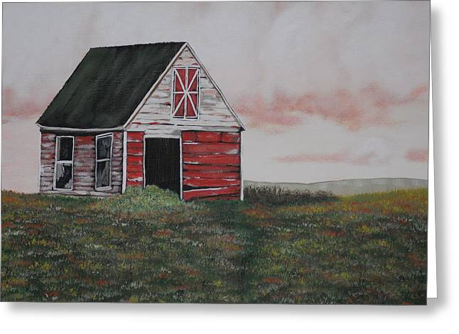 Red Barn Greeting Card by Candace Shockley