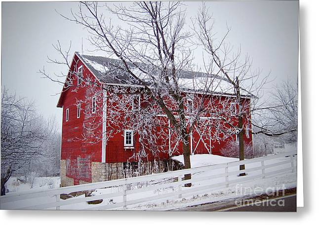 Red Barn Circa 1876 Greeting Card by Sue Stefanowicz