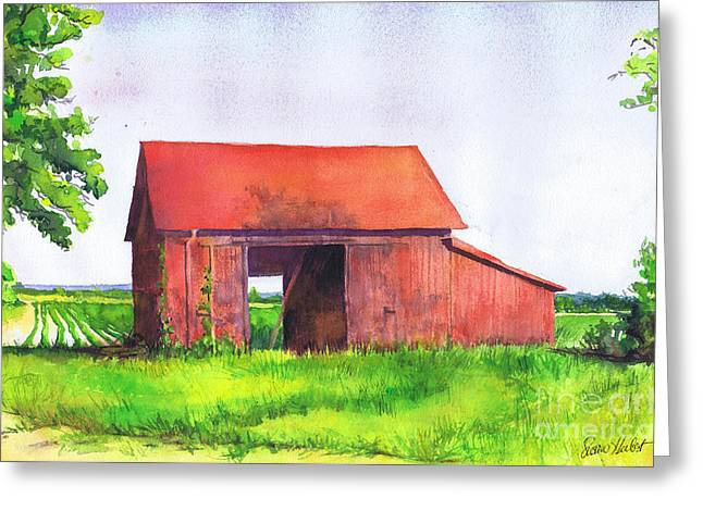 Red Barn Cutchogue Ny Greeting Card by Susan Herbst