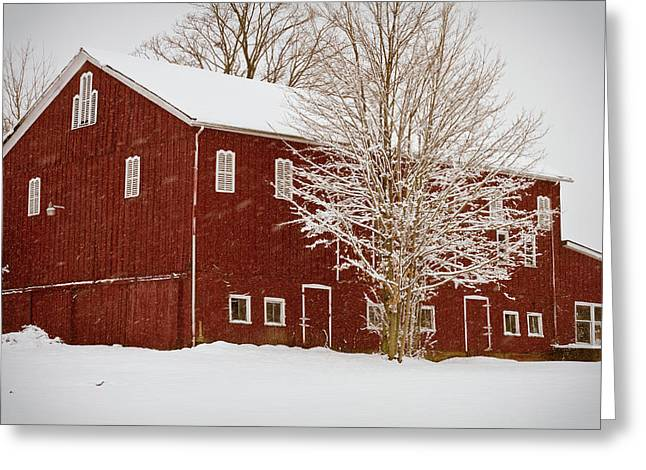 Barn Covered In Snow Greeting Cards - Red Barn III Greeting Card by Tim  Fitzwater