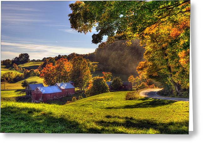 Red Barn In Autumn - Jenne Farm Greeting Card by Joann Vitali
