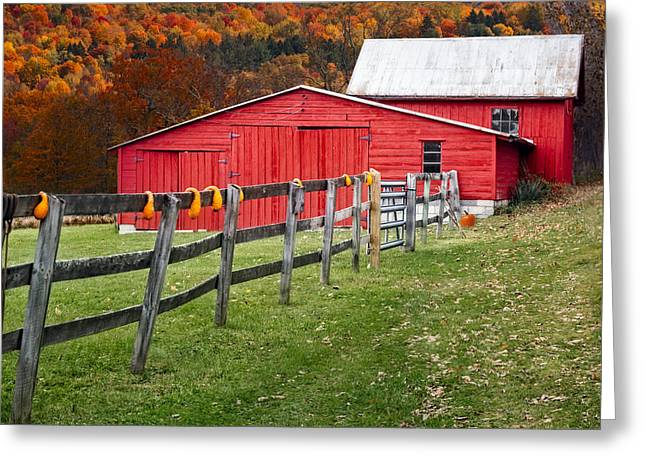 Red Barn In Autumn - Greeting Card