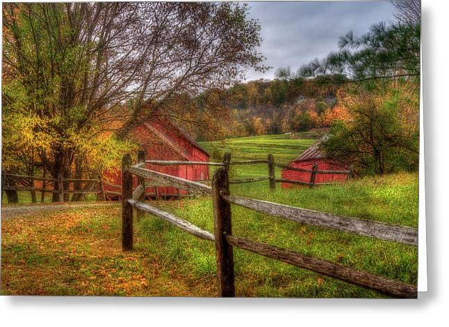 Red Barn In Autumn - Vermont Farm Greeting Card by Joann Vitali