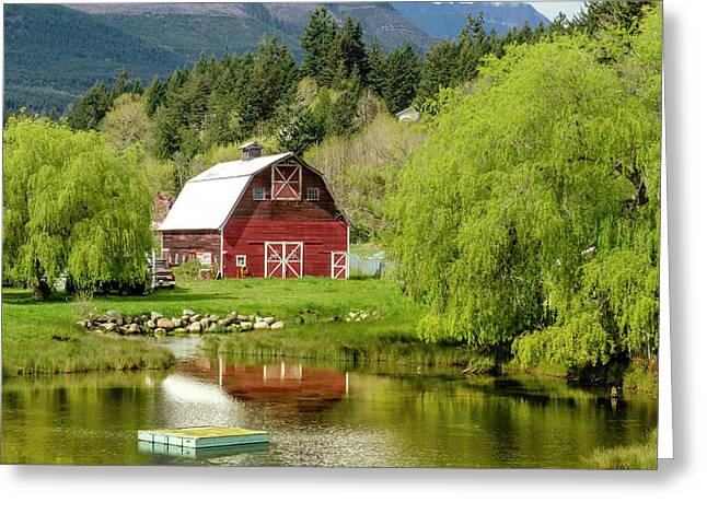 Red Barn In Brinnon Washington Greeting Card by Teri Virbickis