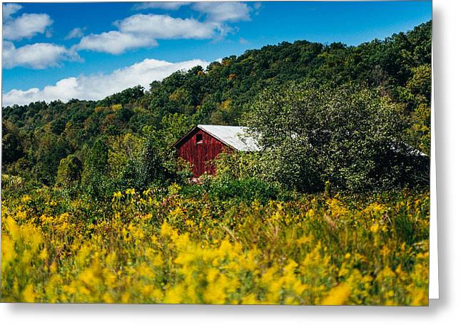 Red Barn In Early Autumn Greeting Card