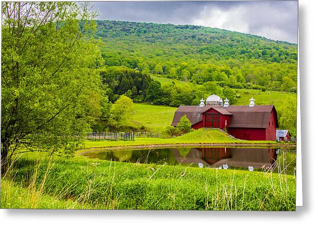 Greeting Card featuring the photograph Red Barn In Green Mountains by Paula Porterfield-Izzo