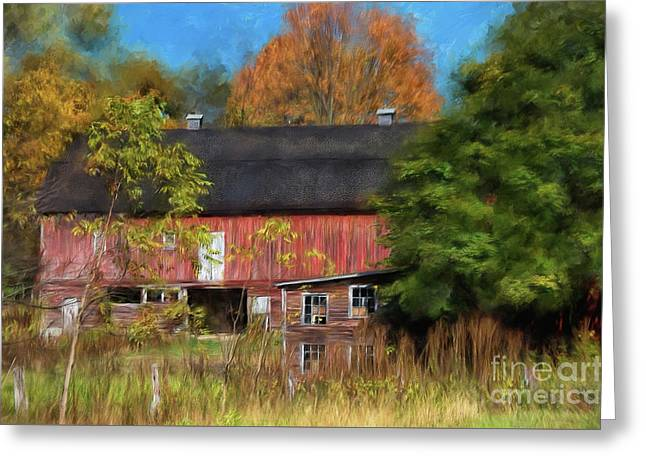 Red Barn In October Greeting Card by Lois Bryan