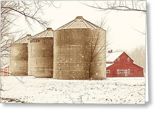 Red Barn In Snow Greeting Card by Marilyn Hunt