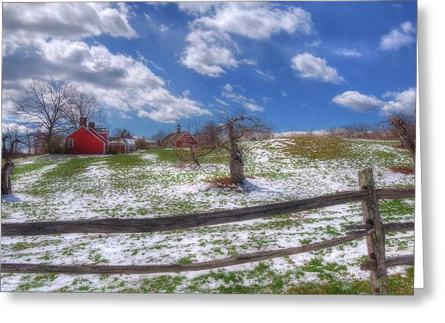 Red Barn In Snow - New Hampshire Greeting Card by Joann Vitali