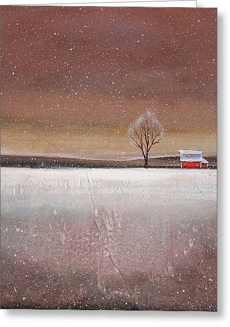 Red Barn In Snow Greeting Card by Toni Grote