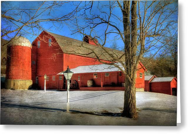 Red Barn In Snow - Vermont Farm Greeting Card by Joann Vitali