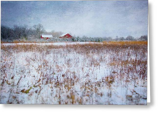 Red Barn In Snow - Winter At Retzer Nature Center  Greeting Card by Jennifer Rondinelli Reilly - Fine Art Photography