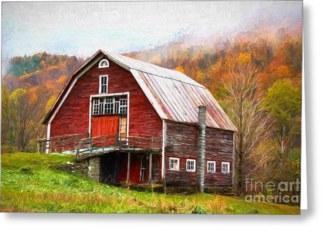 Red Barn In The Blue Ridge Mountains Greeting Card