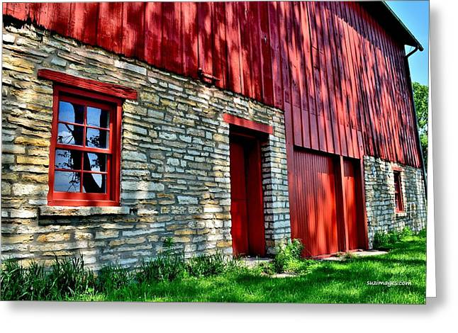 Red Barn In The Shade Greeting Card