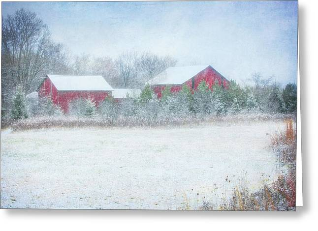 Red Barn In Winter At Retzer Nature Center  Greeting Card by Jennifer Rondinelli Reilly - Fine Art Photography