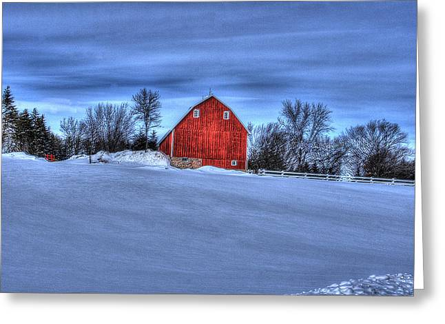 Red Barn In Winter Greeting Card by Laurie Prentice