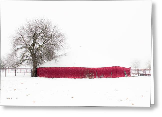 Red Barn In Winter Greeting Card by Tamyra Ayles