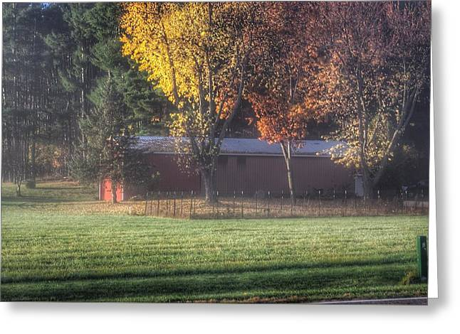 0041 - Red Barn On A Foggy Fall Morning Greeting Card